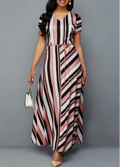 Style : Elegant Neckline : V Neck Color : Multi Color Pattern Type : Striped The post Belted Cutout Sleeve Stripe Print Dress appeared first on Power Day Sale. Cheap Maxi Dresses, Striped Maxi Dresses, Belted Dress, Sexy Dresses, Cute Dresses, Short Sleeve Dresses, Dresses For Work, Dresses With Sleeves, Awesome Dresses