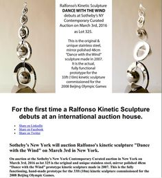 First Ralfonso kinetic sculpture debuts at Sotheby's New York Contemporary Curated Auction May 2016 Wind Sculptures, Sculpture Art, Kinetic Art, Auction, York, Contemporary