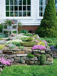 grünes garten design mit steinen - für ein schönes weißes haus - 53 erstaunliche Bilder von Gartengestaltung mit Steinen
