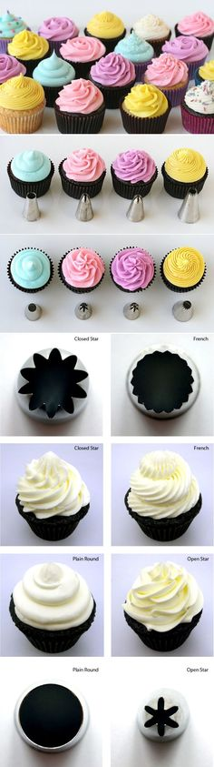 How to Frost Cupcakes- is it weird that I know these piping tips by their Wilton assigned numbers, instead of their fancy names? lol by maria beatriz