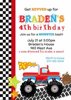 Monster Truck Birthday Invitation Birthday Invitations