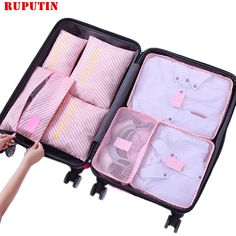Cartoon Bear Heart Luggage Packing Cubes Organizers Toiletry Laundry Storage Bag Pouches Packable Cube 4 Various Sizes Set for Travel Kids Women