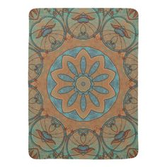 Copper Patina and Vines Tile 321 Stroller Blankets