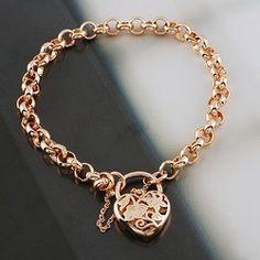Online Shop 18k Rose Gold Filled GF Filigree Heart Locket Women's Rings Link Jewellery Bracelet Chain Length AdjustableFree shipping|Aliexpress Mobile