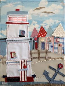 I like the quilt/ collage concept of this Lighthouse/Beach Hut. - but maybe for a different beach scene - nautical stuff Seaside Art, Beach Art, Free Motion Embroidery, Free Machine Embroidery, Framed Fabric, Fabric Art, Applique Quilts, Embroidery Applique, Deco Marine