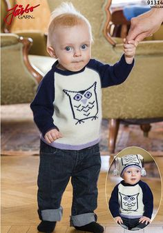 Owl sweater and hat., raglan sleeve. Preemie Baby Sizes 38 to 86 cm.  Gauge 29 st 10 cm  Needles 2,5 and 3 mm Link to pdf in Swedish http://media.jarbo.se/patterns/pdf/91314_low.pdf