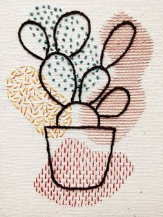 Items similar to Prickly Pear Cactus Organic Shapes Embroidery Hoop Art Cactus Embroidery, Creative Embroidery, Simple Embroidery, Hand Embroidery Designs, Cross Stitch Embroidery, Embroidery Hoops, Modern Embroidery, Embroidery Ideas, Diy Embroidery Crafts