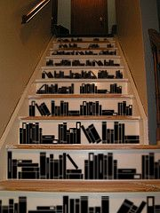 """""""Book Stairs"""" -- Vinyl wall decals from Beautiful Wall Decals. Stair Art, Stair Walls, Stairs Vinyl, Stair Risers, Painted Staircases, Painted Stairs, Painted Floors, Book Staircase, Layout"""