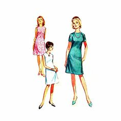 1960s Misses Sleeveless A-line Dress Jiffy Simplicity 7072 Vintage Sewing Pattern Check Offers for Size Simplicity