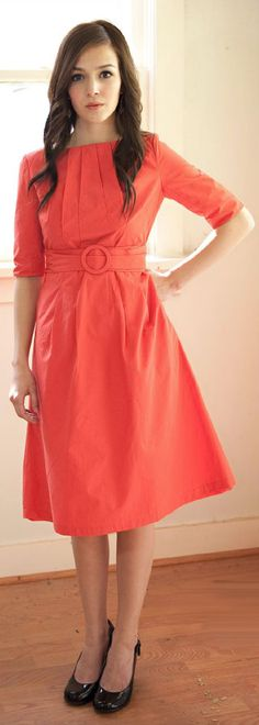 """We ordered an orange """"Jackie"""" dress from jenclothing.com. PERSIMMON orange. Taking the whole colorful mandate very seriously. #sistermissionarydress"""