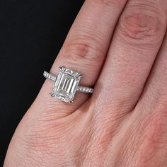 4.00 Carat GIA G-SI1 Emerald-Cut Diamond Engagement Ring - 10-91-323 - Lang Antiques