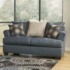 Signature Design by Ashley Mindy Indigo Loveseat | Overstock.com Shopping - Great Deals on Sofas & Loveseats