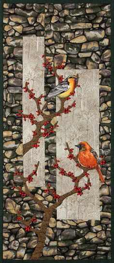 'Winter Feast' - Broiderie Perse birds, hand applique, beads.