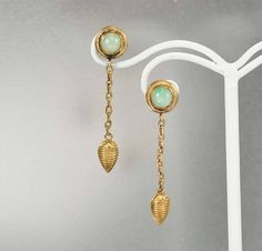 Vintage Gold Vermeil Chinese Jade Dangle Earrings