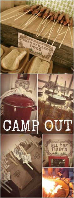 "Camp Out party! Perfect for summer. Love the ""S'more Kits"" for all the kids."