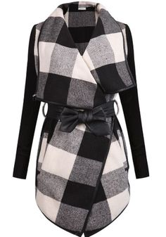 Black Plaid Belt Turndown Collar Fashion Cotton Wool Coat