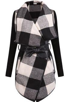 Black Plaid Belt Turndown Collar Fashion Cotton Wool Coat