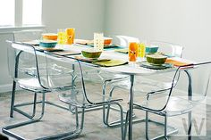 IKEA dining table & clear chairs