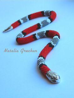 Snake beaded crochet necklace Red gray snake choker American | Etsy Snake Necklace, Rope Necklace, Beaded Necklace, Beaded Bracelets, Beaded Crochet, Bead Crochet Rope, Crochet Necklace, Bead Patterns, Jewelry Patterns