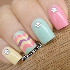 spring chevron nails