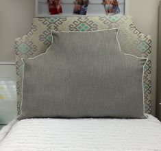 Already a Dorm Decor favorite this oversized pillow in the classic belgrave headboard shape is comfy and cozy.  It works no matter how high you loft you bed. Av