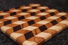 Gingham Chevron Pattern Cutting Board made using Walnut, Maple, and Cherry Wood