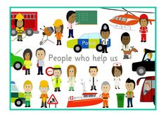 People Who Help Us Poster.Decorative poster ideal to use as part of your classroom display when teaching about 'people who help us'. Community Jobs, Community Helpers, Teacher Resources, Teaching Ideas, Primary Teaching, Learning Resources, People Who Help Us, Jobs Uk, Transportation Theme