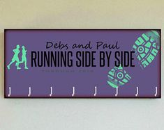 "Race Medal Holder / CUSTOM Race Medal Hanger PURPLE. PERSONALIZE Your Own ""Running Side by Side"" Wood Wall Mounted Organizer. See Details"