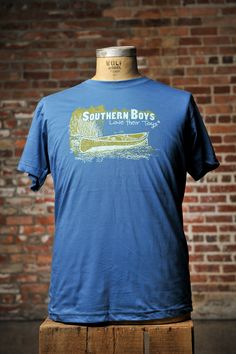 "Canoe Floatin ""Southern Boys Love Their Toys"" Tshirt from BourbonandBoots.com. Mens and Boys sizes $24"