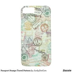 Passport Stamps Travel Pattern iPhone 7 Case May 13 2017 #spring #junkydotcom