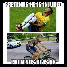 Many cyclist crash and get back on their bike with severe injuries to finish while thousands of soccer players lie on the grass butt hurt.. http://thecyclingbug.co.uk/default.aspx?utm_source=Pinterest&utm_medium=Pinterest%20Post&utm_campaign=ad #thecyclingbug #cycling #injury