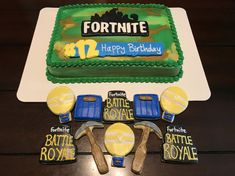 Fortnite Birthday Sheet Cake and Cookies - Jake 12 - Cake Design Image Birthday Cake, Birthday Sheet Cakes, Birthday Cakes For Teens, 6th Birthday Parties, Birthday Ideas, Jungle Theme Birthday, Boy Birthday, 12th Birthday, Teen Cakes