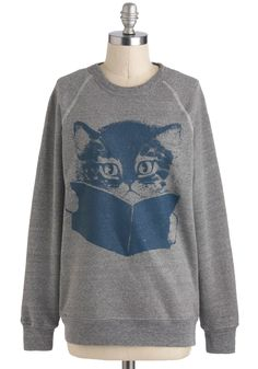 Come Tome to Me Sweatshirt - Grey, Print with Animals, Casual, Long Sleeve, Mid-length