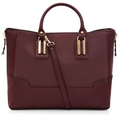 Dark Red Suede Panel Tote Bag (150 PEN) ❤ liked on Polyvore featuring bags, handbags, tote bags, plum, red tote bag, plum handbags, red tote, red purse and red handbags