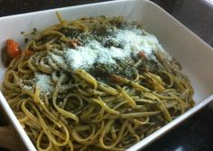 Linguine with freshly made pesto with tomato!