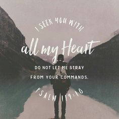 I seek you with all my heart; do not let me stray from your commands. Psalm 119:10 #seekhim #God #Godishere