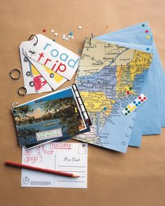 Put all of the souvenirs from your family road trip to use with a scrapbook on loose-leaf rings that your kid can cherish through the years.  Bring some supplies, such as a hole punch, plain tags with pre-punched holes, and maps. Have your child mark each city with a sticker on a map, and add a matching sticker to the envelope.