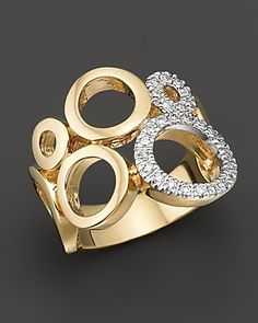 Circular Yellow Gold and Diamond Ring