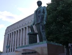 Kaarlo Juho Ståhlberg (1865-1952) was the first president of the Finnish republic (1919-25). His memorial was commissioned from Wäinö Aaltonen following an open competition arranged in 1955 which did not yield a result, and another competition in 1956, to which Olli Vaittinen, Viljo Savikurki, Armas Tirronen and Wäinö Aaltonen were invited.  Ståhlberg's memorial was unveiled on September 22, 1959, seven years after his death.