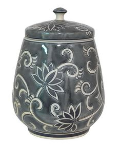 This Gray & White Floral 14.25'' Covered Jar is perfect! #zulilyfinds