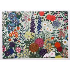 Artist: Jack Hofflander, American - Title: Flowers Medium: Serigraph, numbered in pencil Edition: TP Image Size: inches Size: 21 x 28 in. x cm) Floral Rug, Wall Wallpaper, Art World, Graphic Illustration, Printmaking, Vintage Art, 1970s, Tapestry, Fine Art