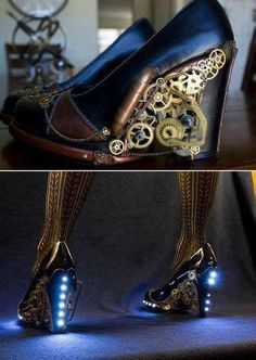 Steampunk shoes | via RebelsMarket Steampunk & Victorian. So beautiful!!