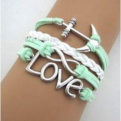Mint green anchor bracelet...cute