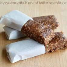 Chewy Chocolate and Peanut Butter Granola Bars Recipe