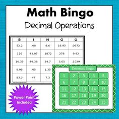 Add, Subtract, Multiply, and Divide Decimals Bingo. Included in this set: *PPT slide show to use with any interactive whiteboard *30 unique bingo boards *25 calling cards with answers. Common Core 6.NS.3 -Simone's Math Resources