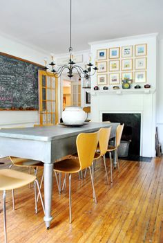 Painted farmhouse table with modern chairs! Love this entire house because it mixes vintage with southwestern with eclectic with modern (from Young House Love) Furniture Update, Dining Furniture, Dining Room Table, Dining Area, Dining Rooms, Dining Chairs, Young House Love, Sweet Home, Yellow Doors