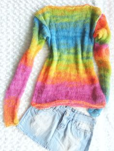 Rainbow  Mohair Blouse Oversized Hand Knit Tunic Women Knit Sweater by MyAqua on Etsy https://www.etsy.com/listing/178845690/rainbow-mohair-blouse-oversized-hand