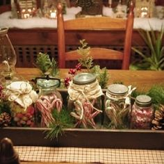 Another use for a wooden box and jars at Christmas time...... change to jelly beans and small eggs for Easter and add Easter grass.