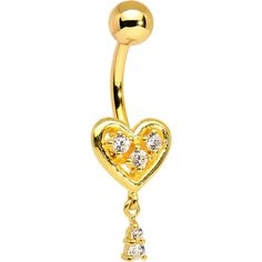 Gold Plated 925 Sterling Silver Clear Tassel Heart Dangle Belly Ring   Body Candy Body Jewelry