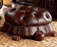 This tortoise footstool from the Horchow Home Decorations Catalog is so cool, it makes me wish I had a library to put it in. Sadly, I keep my books in a box. [Tortoise Footstool] [Via: Neatorama] Funky Furniture, Unique Furniture, Furniture Design, Luxury Furniture, Furniture Decor, Leather Ottoman, Tufted Ottoman, My Dream Home, Home Decor Accessories